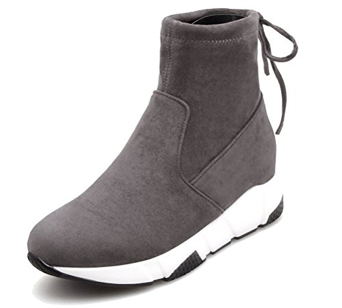 HiTime Ladies Athletic Pull On Wedges Sneakers Lace up Back High Top Ankle Boots Size 2-5.5 Grey
