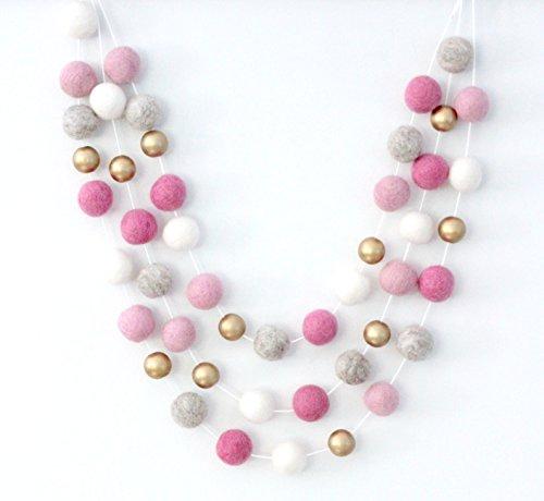 Pink Gold & Gray Handmade Felt Ball Garland by Sheep Farm Felt- White, Gold, Gray and Pink Pom Pom Garland, Wool and Wood Felt Ball Metallic garland. 2.5 cm balls. (Bead Metallic Wood)