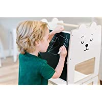 Craffox Kitchen tower/Polar BEAR/helper stool for toddlers/Convertible stool with blackboard