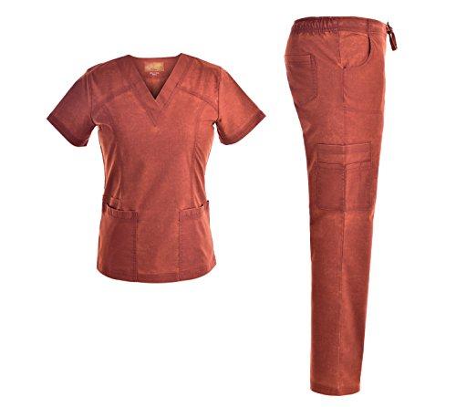 Set Nurses Scrubs Uniform (Jeanish Scrubs EXCLUSIVE V Neck Stretch Women Scrubs Set - Multiple Pockets Women Nurse Uniforms JS1609 (CNB, L))