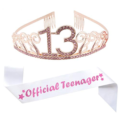 13th Birthday Pink Tiara and Sash, Glitter Satin