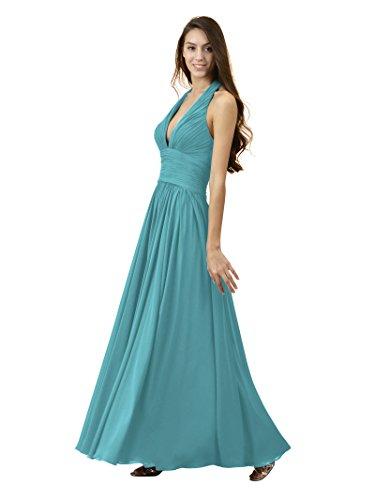 Alicepub Sexy Robes De Demoiselle D'honneur V-cou Licol Soir En Mousseline De Soie Turquoise Partie Maxi Robe De Bal