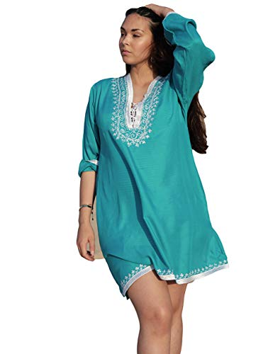(Bsubseach Women Lake Blue Embroidery 3/4 Sleeve Bikini Cover Up V Neck Swimwear Short Tunic Dress)