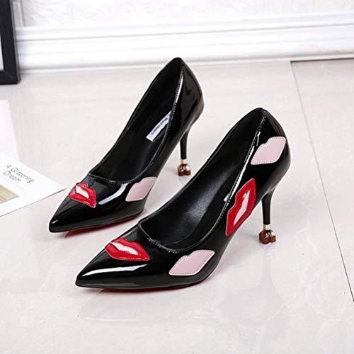 Aiguilles Noir Confortables Haut Femmes Talons Modèle Avec Cuir Chaussures Pour Talon En Pointu De dxYFqOwBnY