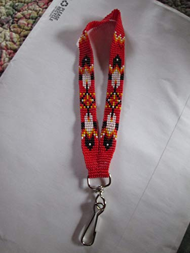 wristlet key chain keys key holder RED feathers southwest Indian design Hand beaded Guatemalan central american Native I.D. ID badge holder tag lanyard fair trade glass seed bead Aztec Ethinc -