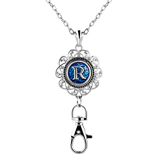(ShinyJewelry Office Lanyard Necklace Clip Badge ID Holder Pendant With A-Z Letter Alphabet Snap Charm (R))