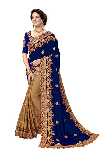 - Nivah Fashion Women's Silk Heavy-Embroidery work sari With Blouse piece K810 (Blue)