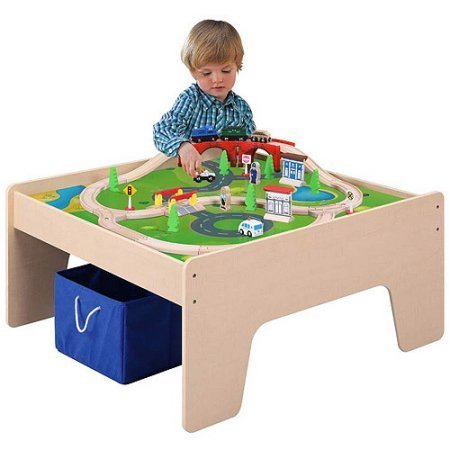 Wooden Activity Table with 45-Piece Train Set u0026 Storage Bin Compatible With Chuggington  sc 1 st  Amazon.com & Amazon.com: Wooden Activity Table with 45-Piece Train Set u0026 Storage ...