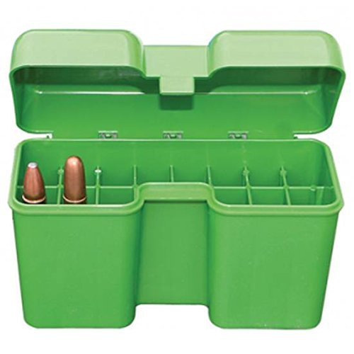MTM 22 Round Flip-Top Rifle Ammo Box 300-375 Rem Ultra Mag, 416 Rigby (Large Mag, Green)