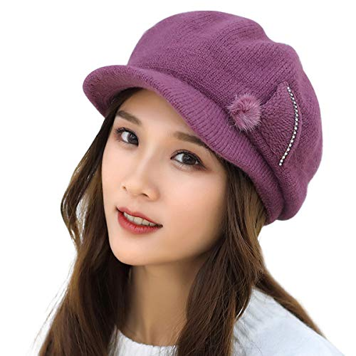 HUAMULAN Women Skull Winter Rabbit Fur Beanie Hat Knit, used for sale  Delivered anywhere in USA