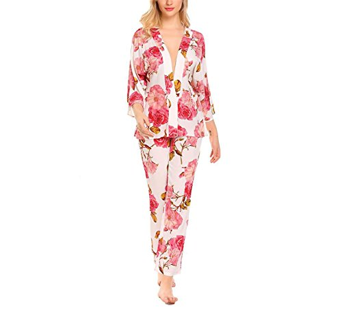 Price comparison product image JIANGTAOLANG Sexy Women Sleepwear Long Pajamas Set V-Neck 3 / 4 Wide Sleeve Floral Print Nightwear Red XL