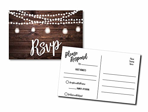50 RSVP Rustic - Wood and Lights - Postcards - Any Occasion - Response Card, RSVP Reply, RSVP kit for Wedding, Rehearsal, Baby Bridal Shower, Birthday, Retirement Party Invitio