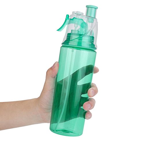 Water Bottle,Chartsea 600ml Sport Cycling Mist Spray Water Gym Beach Bottle Leak-proof Drinking Cup (Blue)