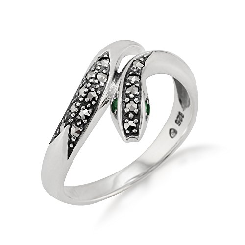 925 Sterling Silver Art Nouveau Emerald & Marcasite Snake Ring