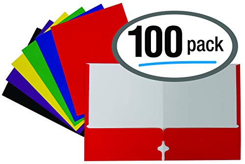 (Letter Size Paper Portfolios by Better Office Products, Case of 100, Assorted Primary Colors, with Fasteners (Assorted, 2 Pocket Paper)