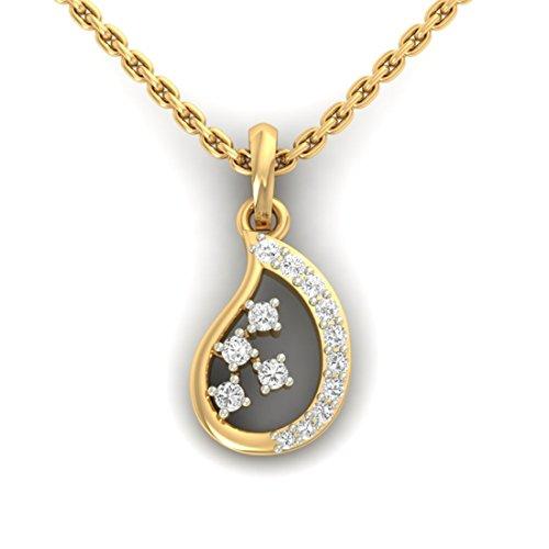 18K Or jaune 0.24CT TW Round-cut-diamond (IJ | SI) diamant Pendentif