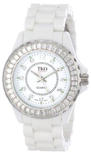 - TKO ORLOGI Women's TK608-WT Ceramix-Ice White Acrylic Crystallized Bezel Watch