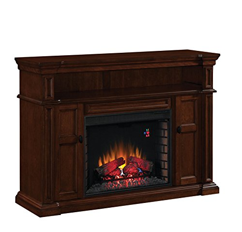 ClassicFlame 28MM4684-M313 Wyatt TV Stand for TVs up to 65″, Vintage Mahogany (Electric Fireplace Insert sold separately)