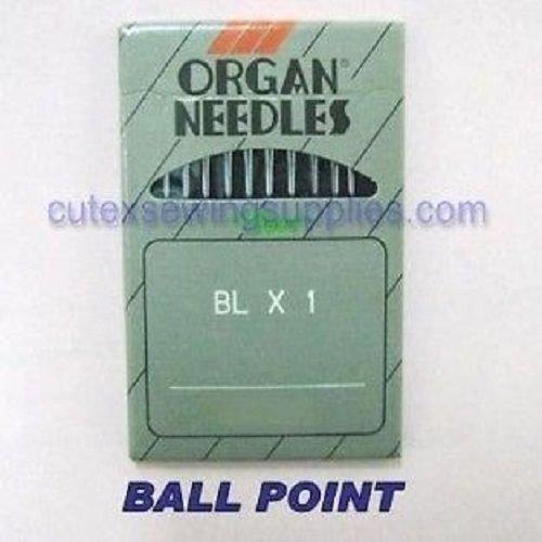 - 10 ORGAN Ball-Point BLX1 Round Shank Serger Needles