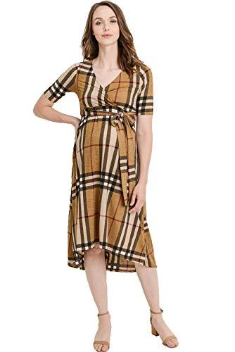 Plaid And Floral Dress - Hello MIZ Women's Floral High-Low Surplice Wrap Nursing and Maternity Dress (Taupe Plaid, L)