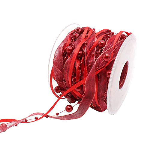Lace 1 roll/lot 10mm Pearl Garland Organza Satin Beaded Ribbon Pearl String (C8 Red)