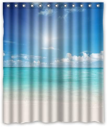 Summer Beach Blue Sea Palm Tree Waterproof Polyester Fabric Shower Curtain 60x72