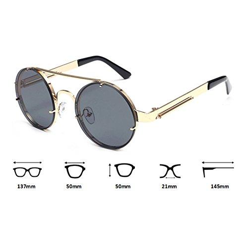 Oro los Gafas clásico Gris que sol conducen redondas del coloridas del Steampunk UV400 de marco de vidrios Keephen vintage Rw6dqTw