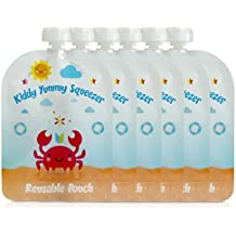 Reusable Food Pouch - Refillable Baby Squeeze Pouches Kids of All Ages Love, Pack of 6 Large Pouches