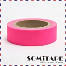 Neon Pink Plain Washi Tape, Craft Decorative Tape by Somi Tape