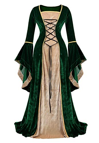 Kranchungel Womens Renaissance Medieval Dress Costume Irish Lace up Over Long Dress Retro Gown Cosplay Green ()