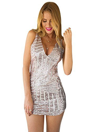 LookbookStore Women's Fashion Deep V Cocktail Champagne Sequin Party Dress US 8