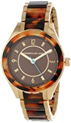 Kenneth Jay Lane Women's KJLANE-2201  Brown Sunray Dial Gold Ion-Plated Stainless Steel and Brown Tortoise Resin Watch