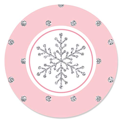 Pink Winter Wonderland - Holiday Snowflake Birthday Party or Baby Shower Circle Sticker Labels - 24 Count -