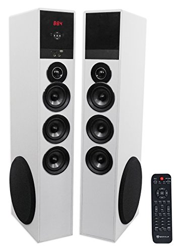 Rockville TM150W White Powered Home Theater Tower Speakers 1