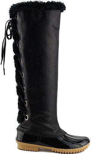 Women's Knee High Winter Boots Back Lace Up Insulated Fur Cuff Trim Waterproof Rubber Sole Duck Snow Rain Shoe Boots Black 8 ()