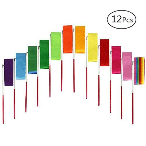 IBEACT 12pcs Dance Ribbons Kids Rhythmic Gymnastics Ribbons Dancing Streamers, for Artistic Dancing