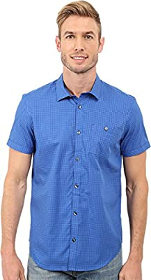 Calvin Klein Men's Short Sleeve Woven Yarn Dyed Jaspe Check Shirt