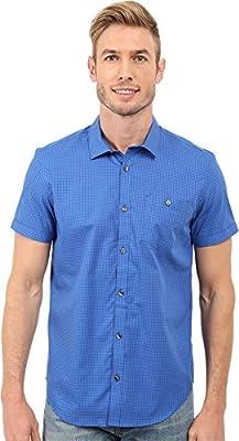 Calvin Klein Men's Short Sleeve Woven Yarn Dyed Jaspe Check Shirt
