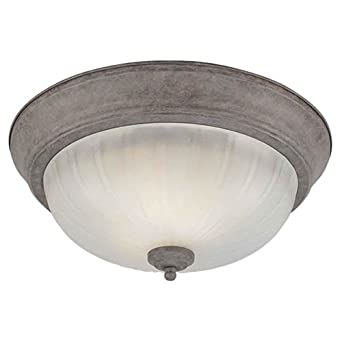 Desert Stone Finish with Fluted Satin Etched Glass Forte Lighting 20001-02-09 Traditional 2 Light CFL Flush Mount