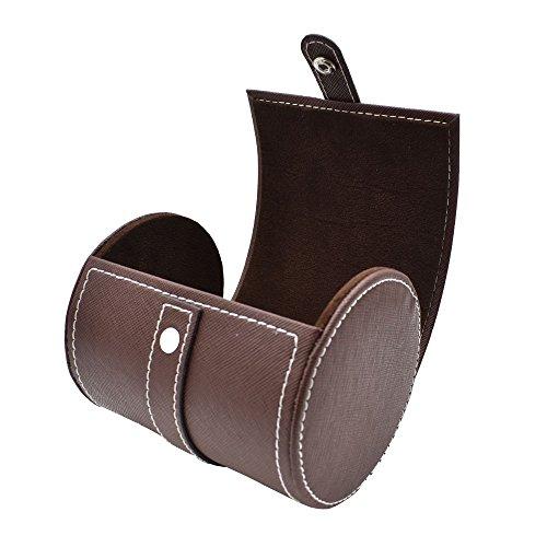 SANQIANWAN Tie Box Storage Holder PU Leather Cylinder Shape Travel Necktie Case (Brown)