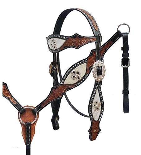 Showman Floral Tooled Leather Headstall & Breast Collar Set w/Genuine Cowhide & Crystal Rhinestone Cross Conchos! New Horse TACK! ()