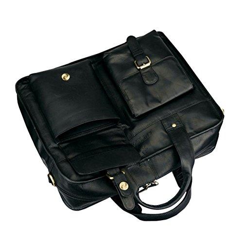 Finelaer Leather Laptop Computer Messenger Bag with Pockets for laptops Macbooks 14'' Black by FINELAER (Image #3)