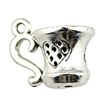 NEWME 30pcs 3d tea cup Charms Pendant For DIY Jewelry Wholesale Crafting Bracelet and Necklace Making (antique silver)