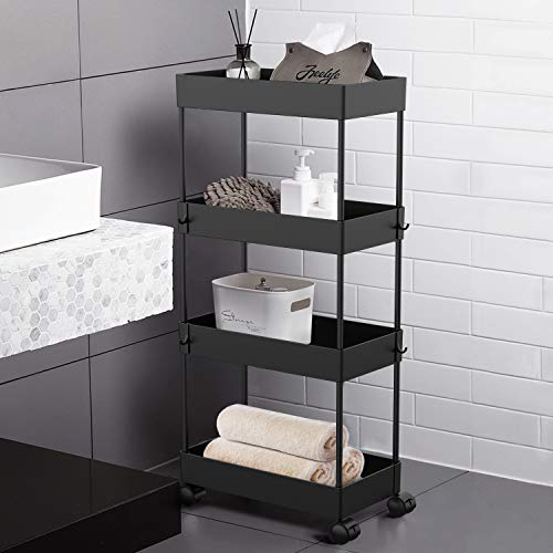 AOJIA 4 Tier Slide Out Storage Cart, Bathroom Storage Organizer Bathroom Cart Organizer, Bathroom Storage Cart with…