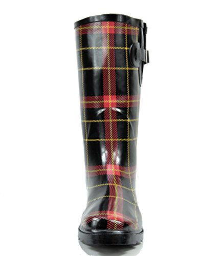 Rainboots Plaid Knee Women's arctiv8 Snow Winter Rubber High Red 8cvHxBzaqA