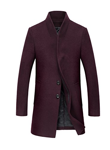 Sulandy Men's Wool French Front Slim Fit Long Business Coat and Jacket