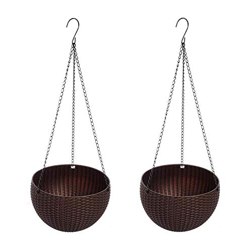 Round Coffee Color Plastic Resin Chain Basket Hanging Planter Hanging Flowers and Plants,Growers Hanging Planter Decor Pot for Indoor Outdoor use Pack of 2 by Guangdejin E-commerce Co., Ltd.