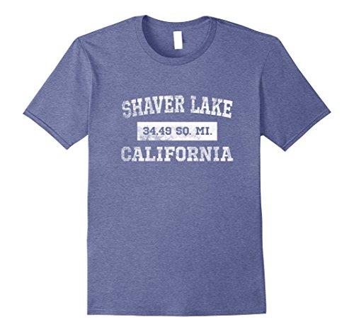 Men's Shaver Lake CA California T Shirt 34.49 Sq. Miles 2XL Heather Blue