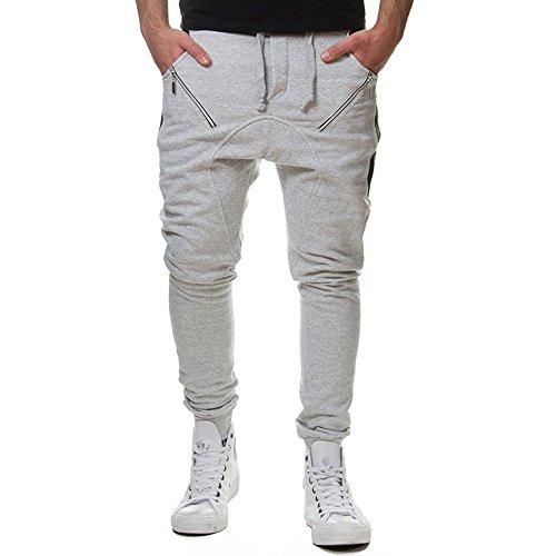 Newlyblouw New Mens Ripped Jeans Skinny Stretch Trousers Zipper Foot Denim Pants Tights Distressed Summer Hip Hop Slacks Gray