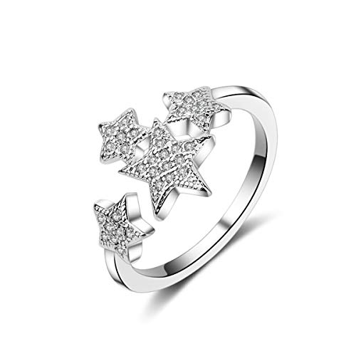 Orris Sterling Silver Star Cluster Crystal Mounted Adjustable Free Size Open Ring